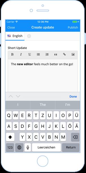 Neuer In-App Editor für Inhalte